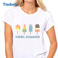 Tissbely Fashion Ice Cream T Shirts Women Cool Summer Sweet Style Fashion Women Graphic Tees Colored
