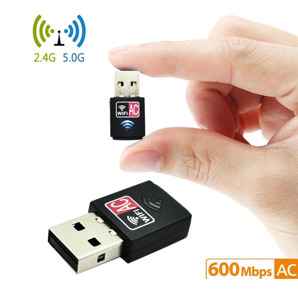 802.11ac 600Mbps Nano-sized Wireless Wifi USB Adapter PC Network Card Dual Band 5Ghz Adapter Lan USB Ethernet Receiver AC Wi-fi