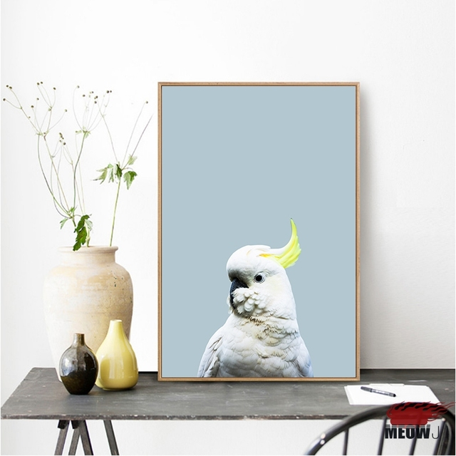 Light Blue Posters Art Painting Living Room Nordic Decoration Gorgeous Parrot Printed Canvas Wall Decor Picture