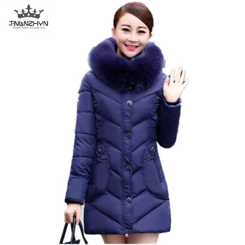 New Middle-aged Winter Jacket Thicken Big Fur Collar Hooded Down Cotton Jacket Big Yards Women Padded Coat Slim Long Parka A2011 2015 new style korean version fur hood collar down jacket women winter long coak a word big yards thick slim coat pj013