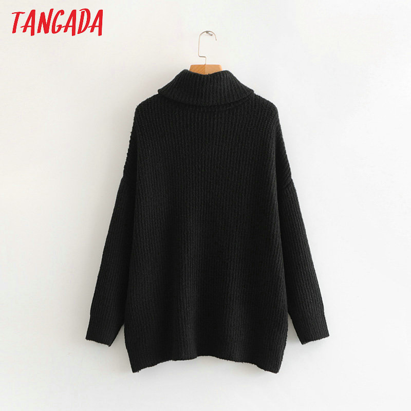 Tangada women jumpers turtleneck sweaters oversize winter fashion 19 long sweater coat batwing sleeve christmas sweate HY135 16