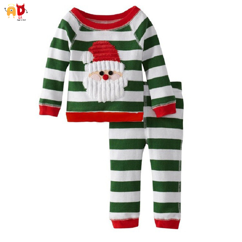 AD Cute Boys Girls Christmas Clothes Sets T-shirts and Pants Top + Trousers Kids Clothes for Xmas Childrens Clothing