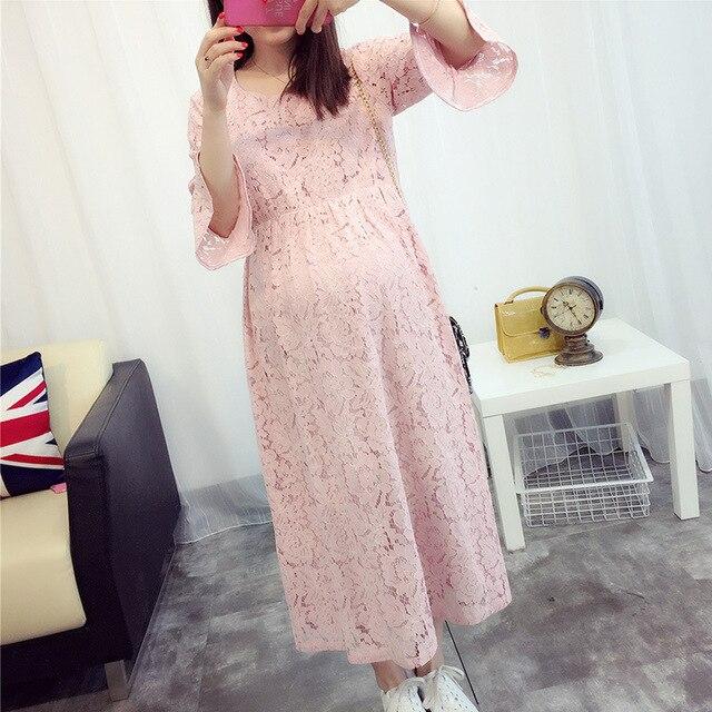 a16cc2f365b97 Vêtements de maternité robes dentelle femme enceinte vêtements longs rose  robe de maternité mode robe coréenne