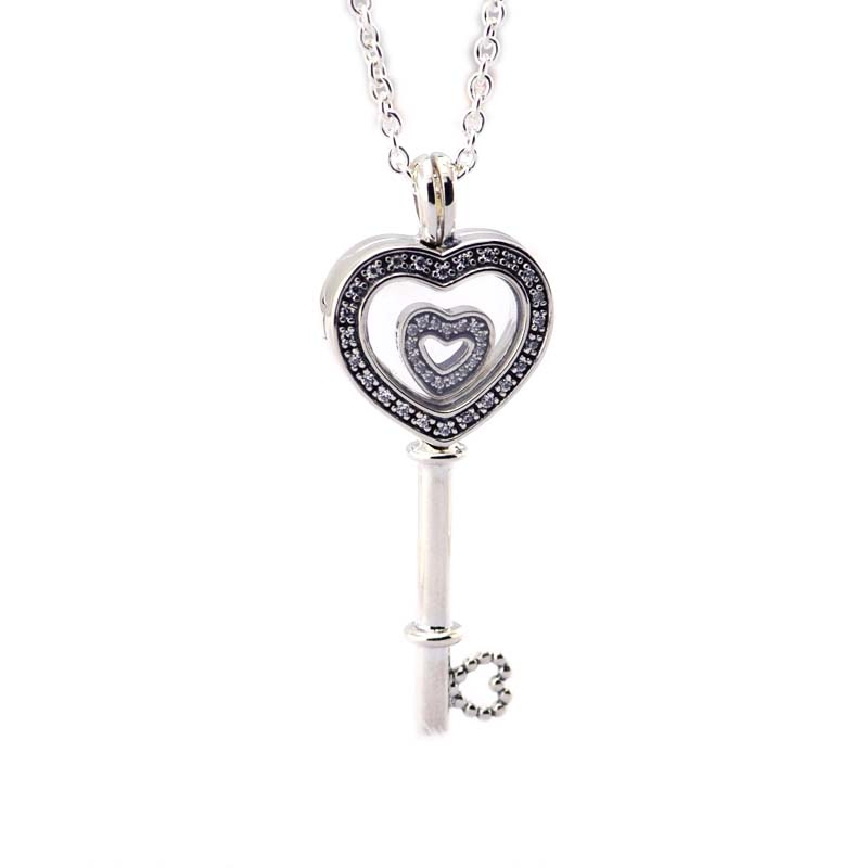 2018 New Floating Locket Heart Key Pendant & Necklace with Heart Petites real 925 Sterling Silver Fine Jewelry Free Shipping
