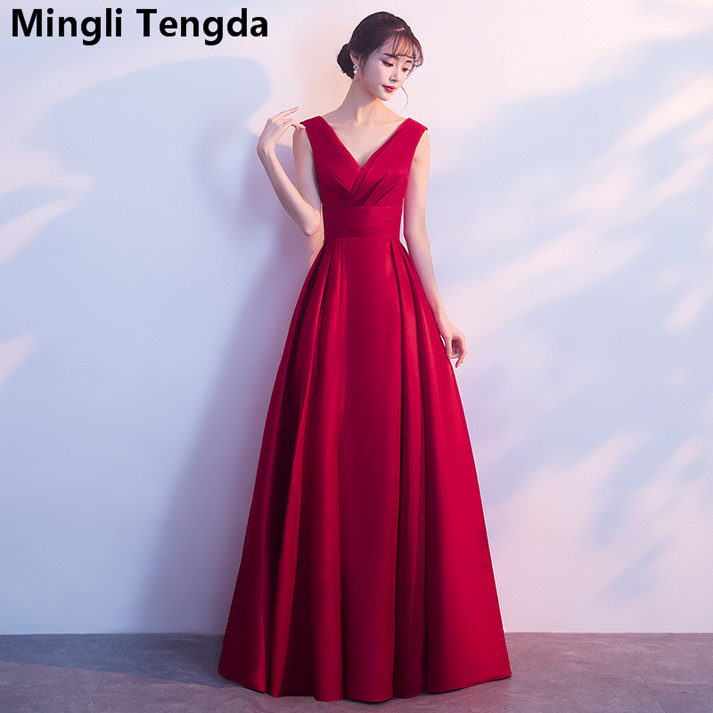 Burgundy Elegant Simple Sleeveless   Bridesmaid     Dress   Long V Neck   Dress   for Wedding Party vestido madrinha longo Mingli Tengda
