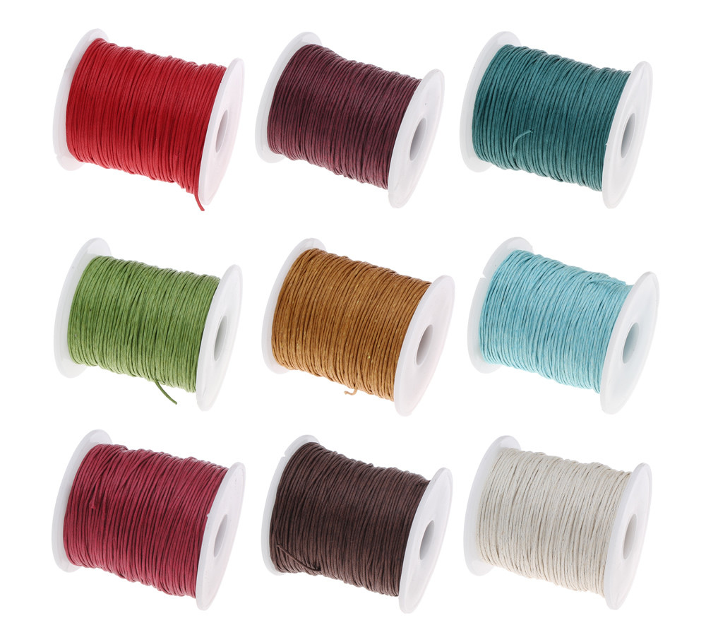 100Yards Spool 1MM Waxed Cotton Cord Thread Cord Plastic String Strap DIY Rope Bead Necklace European Bracelet Ma 100yards spool 1mm waxed cotton cord thread cord plastic string strap diy rope bead necklace european bracelet ma