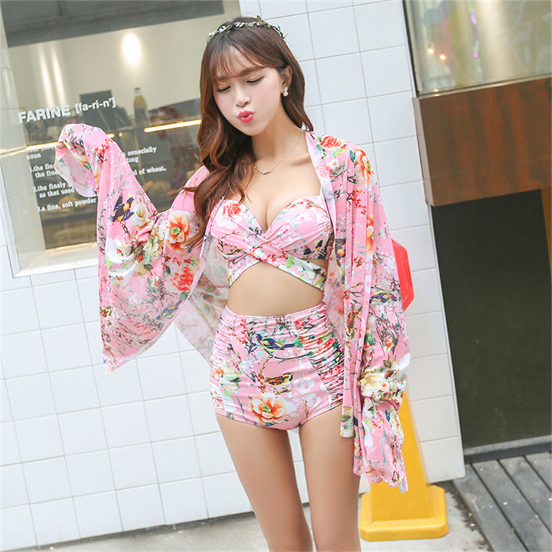High Waist Swimsuit Bandage Bikini Floral Print Retro ...