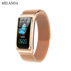 "MELANDA women smart watch 1.14"" IP68 waterproof heart rate stopwatch clock fitness tracker watches PK X3 S2 For Android IOS(China)"