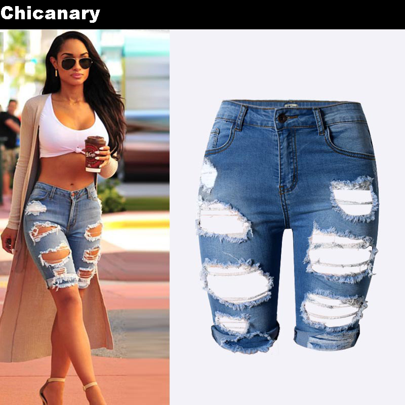 Chicana Europe Style Half Ripped Jeans New High Waist Personality Street Hole Stretch Pants Slim Torn Femme Denim Shorts