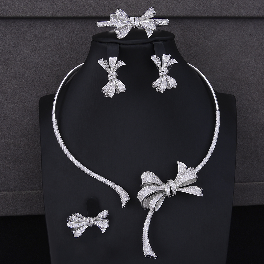 4PCS Women Jewelry Sets Bowknot Cubic Zirconia Collar Necklace Stud Earrings Bracelet Ring Jewelry Sets Wedding Wear 4pcs trendy flower shape indian jewelry sets cubic zirconia collar necklace stud earrings bracelet ring for women wedding