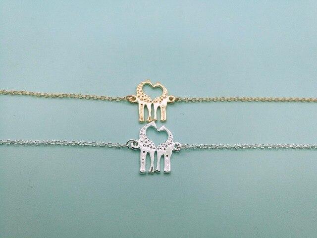 30pcs Cute Long Deer Bracelet Heart Loving Giraffes Lovely Twin Giraffe Bracelets Animal Jewelry For