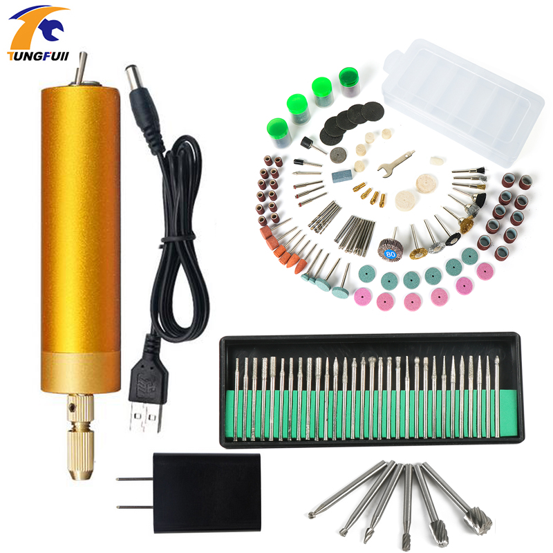 Mini Electric drill Hand Drill Motor Hole Saw Aluminum Mini Electric DIY PCB with drill for Wood Plastic Drilling USB 3-12V