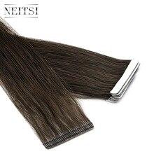 """Neitsi, новинка, накладные Человеческие волосы Remy на ленте, невидимые, двойные, нарисованные, линия любви, пряди для кожи, прямые волосы, 1"""" 20"""" 2"""""""