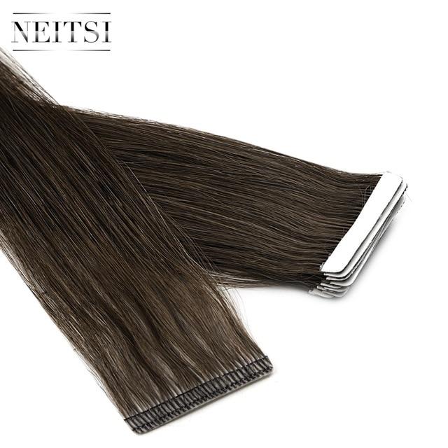 """Neitsi mais novo fita em extensões de cabelo humano remy invisível dupla desenhada amor linha de trama da pele cabelo em linha reta 16 """"20"""" 24 """"disponível"""