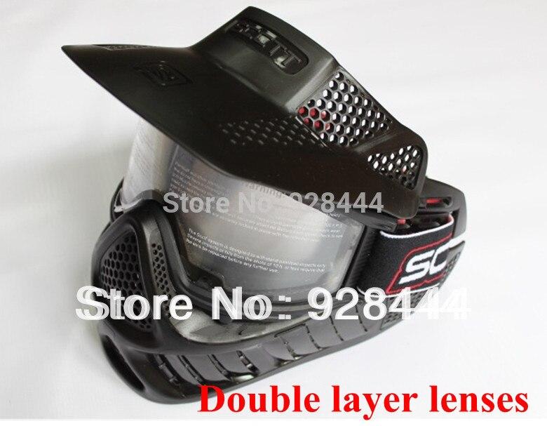 Двойной слой линзы спорта на открытом воздухе Анти-туман пуленепробиваемый страйкбол пейнтбол CS маска полный маска черный цвет бесплатная доставка