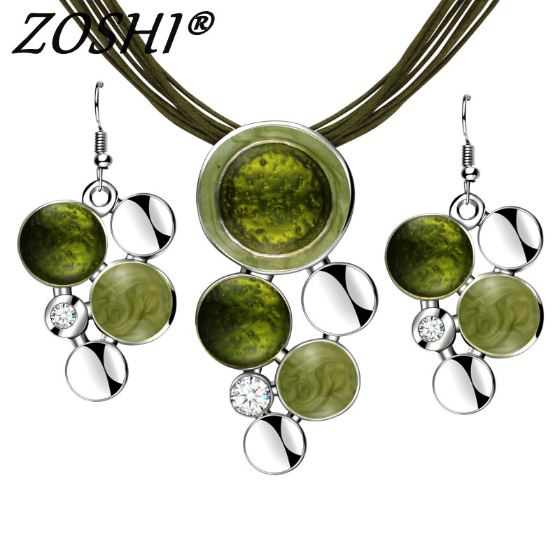 Fashion New Jewelry Sets Green Rope Chain Round Beads Pendant Necklace Drop Earring High Quality Bridal Wedding Summer Jewelry jewelry sets green new jewelry setsset green - AliExpress