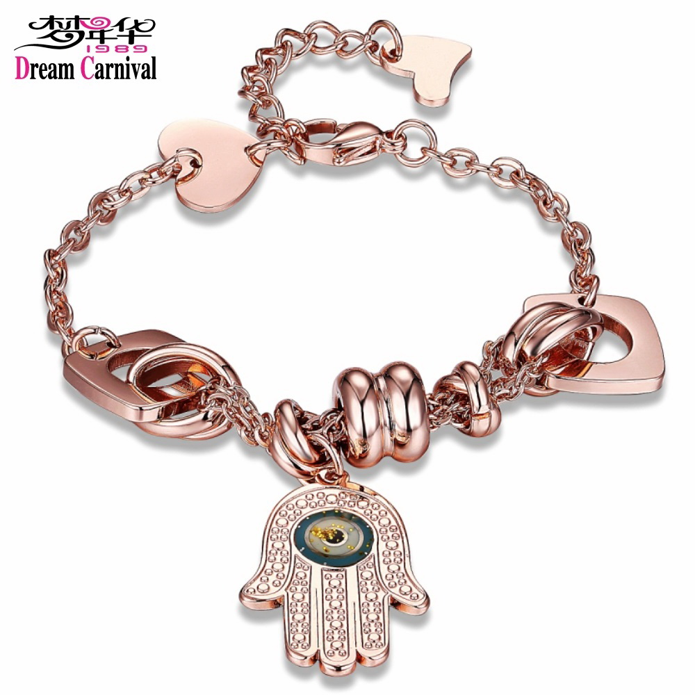 DreamCarnival 1989 Big Fatima Hands Charm with Epoxy Stainless Steel Bracelet Rose Gold Color O Chains Christmas Gifts 2LCB-2029