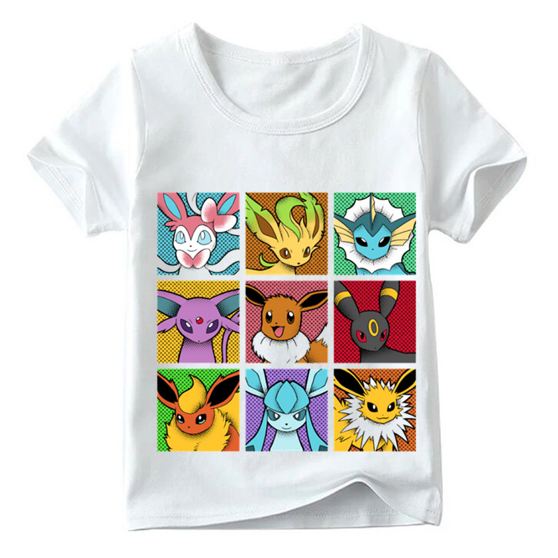 Pokemon Go Pop Eeveelutions Design Children T shirt Boys and Girls Summer White Tops Kids Casual T-shirt,HKP5091 kids cccp ussr gagarin print t shirt boys and girls the soviet union russia space design tops baby summer white t shirt hkp2437