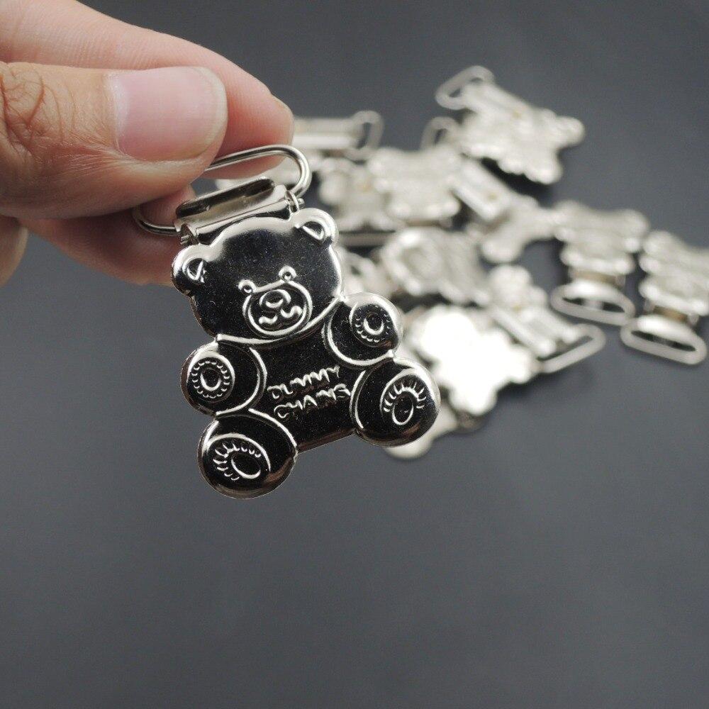 50 шт. сидит медведь соску клип ребенок мать аксессуар соска застежка Держатель серебристый цвет металла Симпатичные манекен цепи EA305