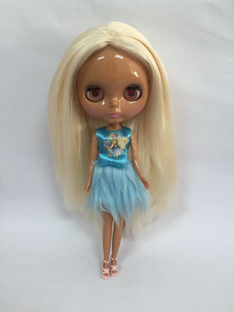 H58 Nude Blyth Dolls Yellow Hair Black Skin Factory Doll ,Fashion Doll Suitable For -3285