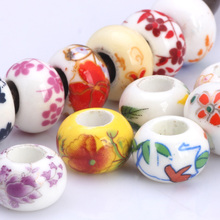 OlingArt 13*8MM 10pcs/lot Mixed colors printing Ceramic round hole 5mm beads Necklace Bracelet DIY Jewelry Making Leather rope