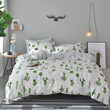 Green Cactus Printed Duvet Cover Set 100% Cotton Stripes Bedding Sets Twin Queen King Size Quilt Cover Bedspread Pillow Case(China)