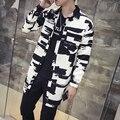 Новый Горячий Мода Весна Осень Траншеи Пальто Мужчины Регулярный Повседневная Тонкий Длинные Пальто Мужчины (Азиатский Размер)