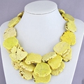 Layered Chunky Statement Fashion Yellow Turquoise Necklace
