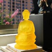 Tibetan Buddhism Yellow glass Buddha Glaze Glass Buddha statue