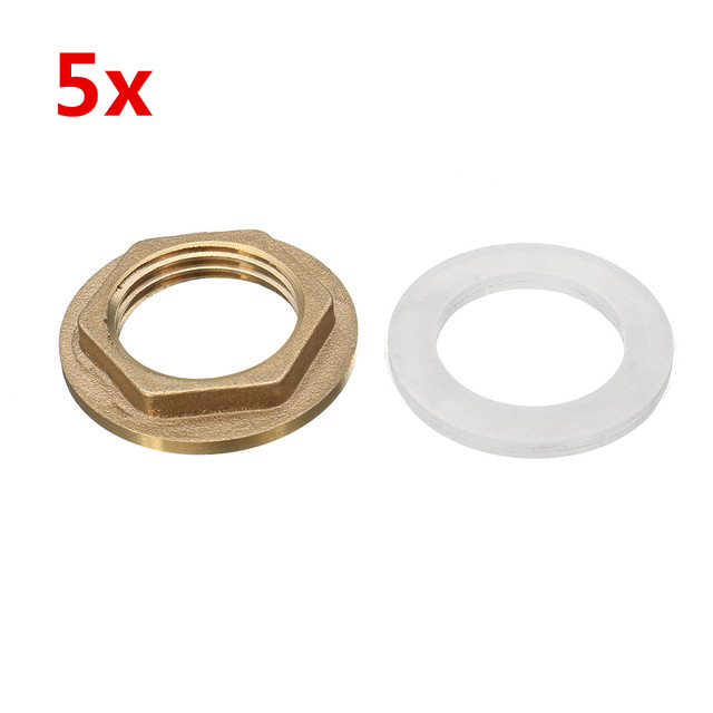 5x BSP Plumbing Pipe Brass Flanged Backnut 20.955mm 1/2inch & Rubber ...