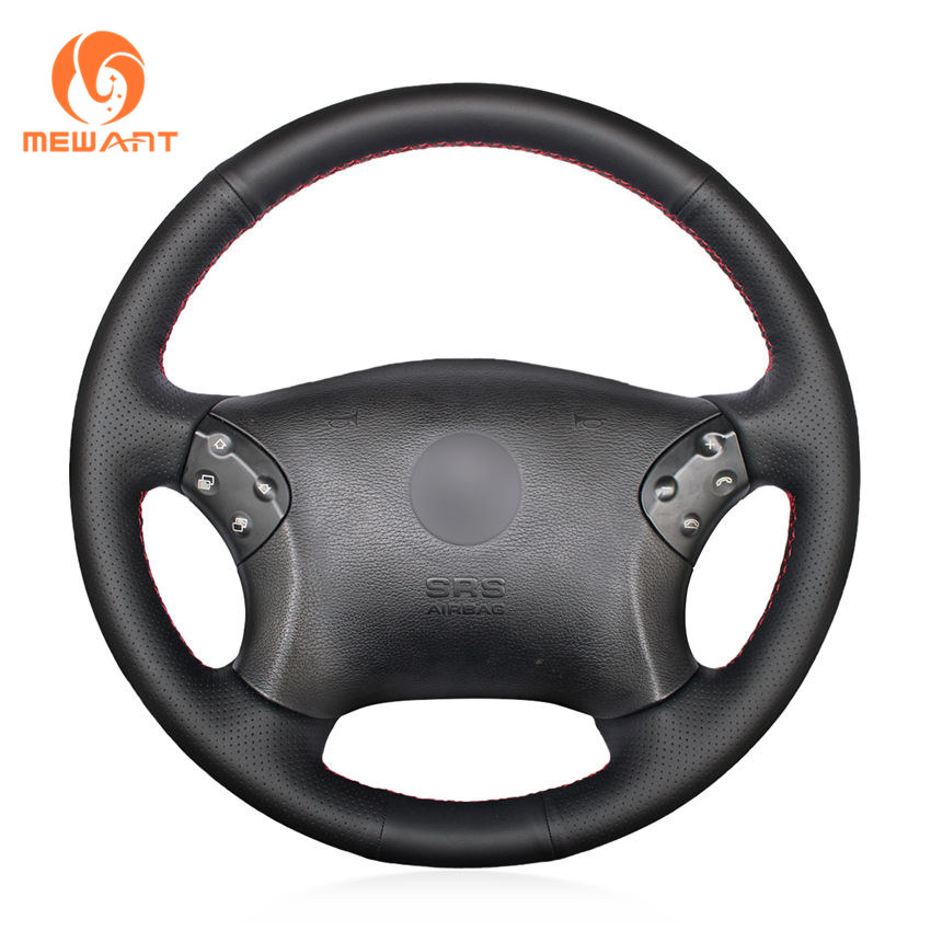 цена на MEWANT Black Artificial Leather Car Steering Wheel Cover for Mercedes Benz W203 C-Class 2001-2007