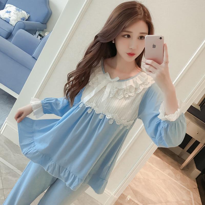 2018 Pijama Masculino Full Solid O-neck Pijamas Hombre Invierno Pyjamas Pajamas Autumn Long Sleeved Cotton Lace Women Nightwear