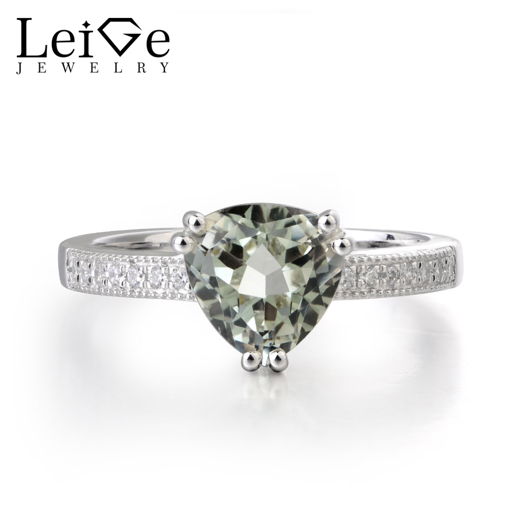 Leige Jewelry Genuine Green Amethyst Rings 925 Sterling Silver Trillion Cut Engagement Rings Romantic Gifts For Woman