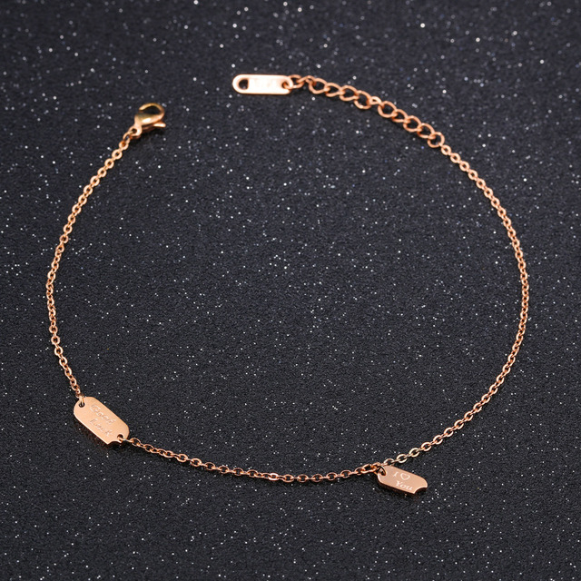 Charming Good Luck Anklets For Women Rose Gold Color Stainless Steel Ladies Female Foot Bracelet Friendship Jewelry GZ025