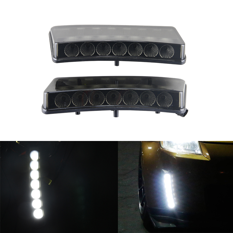 Fit For Nissan 350Z Pre-LCI 03-05 Led Daytime Running Lights 7-Led Xenon White DRL Driving Fog Lamps Daylights Car-Styling