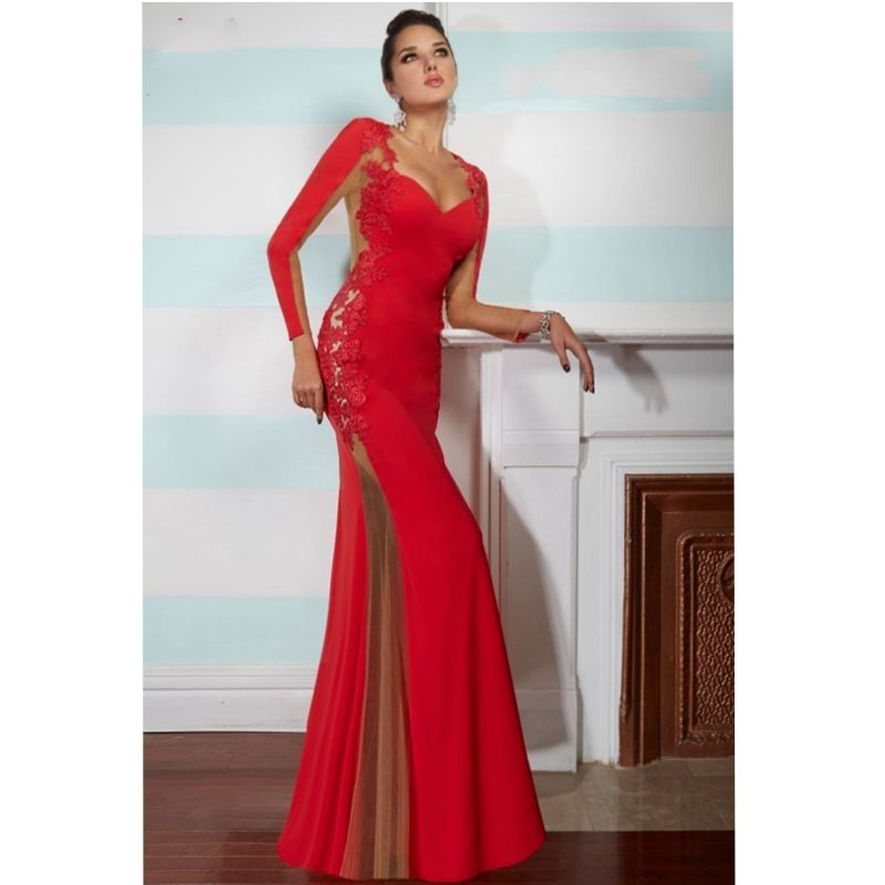 Online Get Cheap Full Sleeves Red Prom Dresses -Aliexpress.com ...