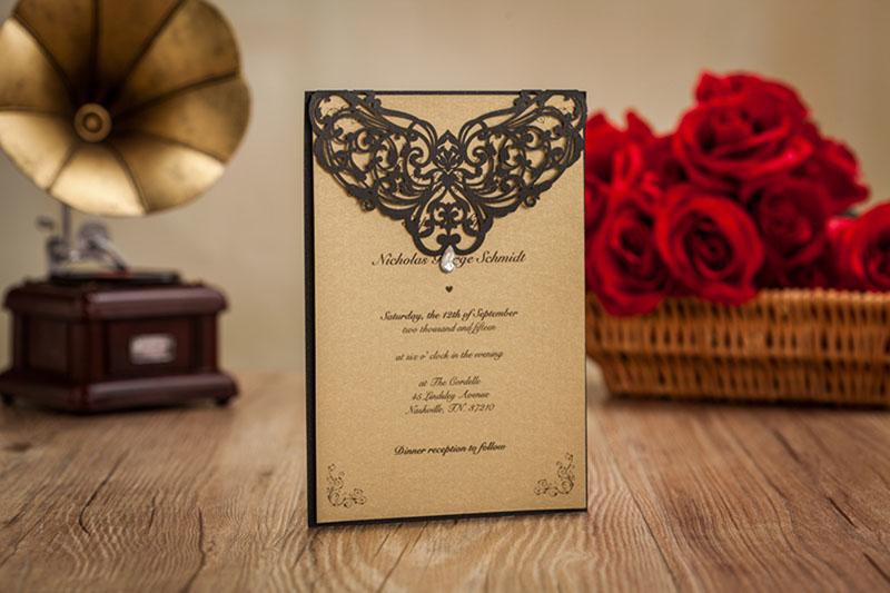 el negro punteado hollow oro de boda invitacin de la boda con