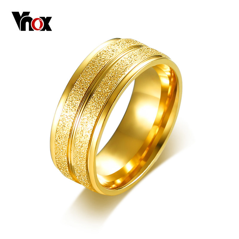 Vnox Dull Polish Engagement Ring for Men Gold Color 8mm Width Wedding Bands Finger Ring Female Male Stainless Steel Jewery