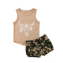 New Kids Baby Boy Girl 2pcs Military Set Cattle Vest + Camouflage Shorts Pants Justice Bull Head Suit Kids Baby Set(China)
