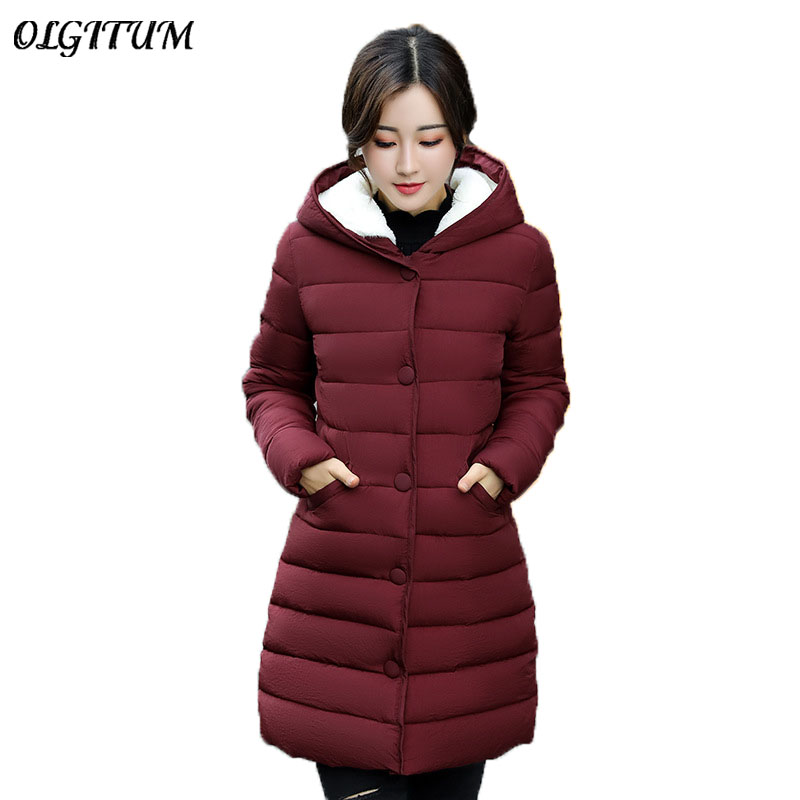 Hot Sale 2019 Female Winter jacket Fashion warm long section Outwear Parkas Light thin Cotton coat hooded thick snow wear coat