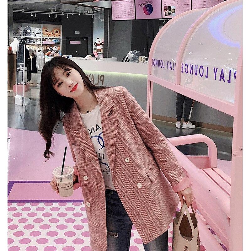 Blazer 2019 Frühling Neue Koreanische Rosa Anzug Top Fashion Lange Koreanische Version Lose Karierten Anzug Jacke Taste Kerb Zweireiher Plaid