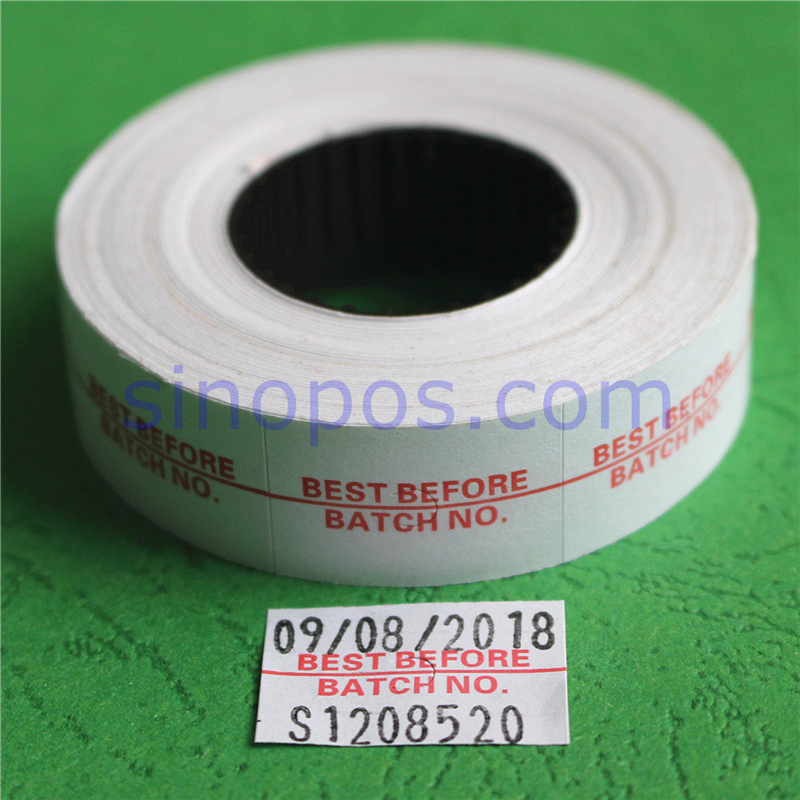 Best Before Batch No. Two Line Labels 23x16mm, Expire Production Date Number Labeller #6600 Label Roll Price Gun Labeler Refill