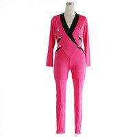 Wonder Beauty Elegant Women England Style Rompers Jumpsuit Rose Deep V Macacao Feminino Leotard Long Overalls