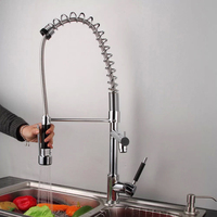 Spring/pull out Brass Stainless Steel Kitchen Faucet Hot and Cold Wall Mounted Chrome Solid Spray Water Tap Mixer Sink CH-8005