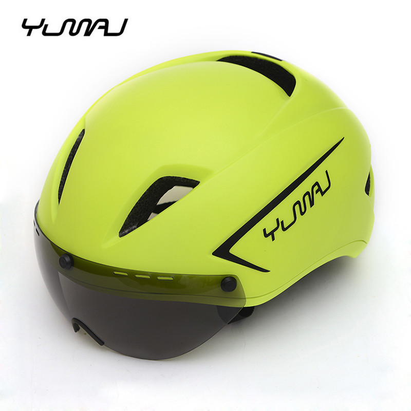 YUMAJ New Aero Cycling Helmet with Goggles Road Bike Mens BMX Integrally Molded Helmets Riding Sportwear Safety Women Helmet(China)