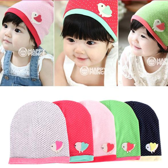 Retail Wholesale Spring/Fall Girls Kids Baby Soft Cotton Birds Pattern Dots Candy Color Beanie Hats Caps