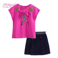 Pettigirl Girl Clothing Sets Sequins Hot Pink Top Match Navy Straight Skirt Casual Girl Costume Baby