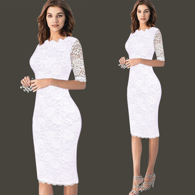 d6ed35abd0599 US $22.49 |Womens Elegant Delicate Floral Lace Casual Party Evening Bodycon  Special Occasion Bridemaid Mother of Bride Dress -in Dresses from Women's  ...