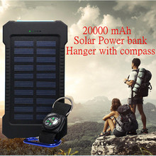 20000mAh Dual USB Waterproof Solar power bank Shockproof Solar Battery Charger Power energy sun external battery