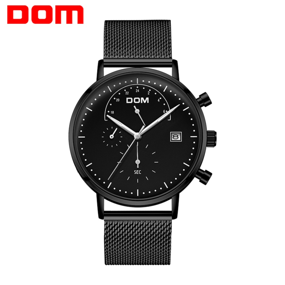 цена 2018 DOM Men's Watches Waterproof Stainless Steel Strap Fashion Luminous Hands Men Wrist Watches for Men Quartz Watch Clock New